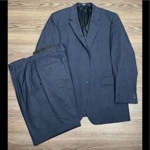 Jos A Bank Solid Blue Tic Weave Suit 44L Long